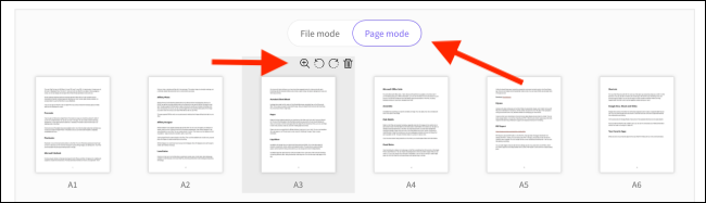 Delete or rotate a page from the options panel