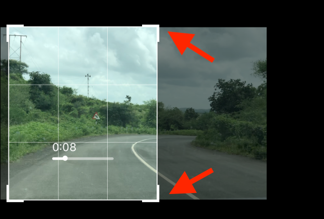 Drag in the edges to where you want to crop the video