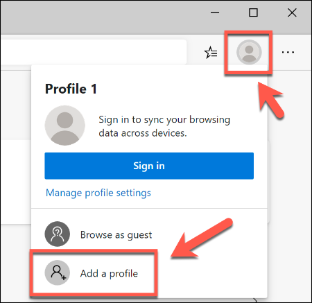 To add a second user profile in Microsoft Edge, click the top-right profile icon, then click Add a Profile
