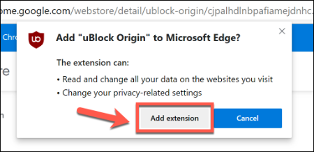 Click Add Extension to add a Chrome extension in Edge