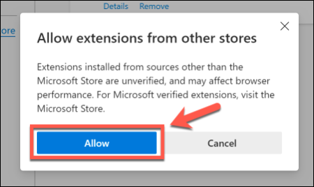 Click Allow to allow Chrome extensions to be used in Edge
