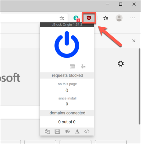 Press on a Google Chrome extension icon, next to the address bar, to interact with it in Microsoft Edge