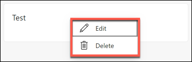 The options to delete or edit a saved note in a Microsoft Edge collection