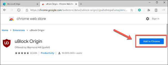 Click Add to Chrome to install a Chrome extension in Edge
