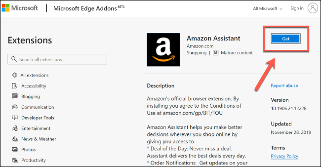 Click Get to install a Microsoft Edge extension from the Microsoft Store
