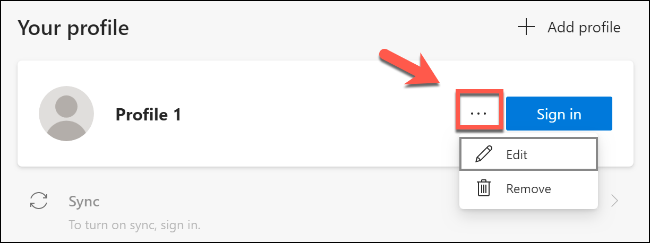 Click the horizontal menu icon to remove or edit a profile in Microsoft Edge