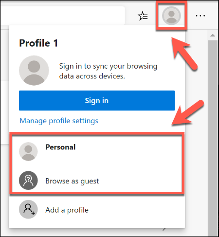To switch between browser profiles in Microsoft Edge, click the user profile icon in the top-right, then select your profile from the list provided