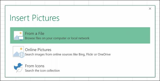 """Haga clic en """"Desde un archivo"""" para insertar una imagen de su computadora."""