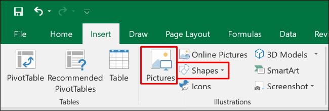 """Haga clic en """"Insertar"""" y luego seleccione """"Imágenes"""" o """"Formas""""."""