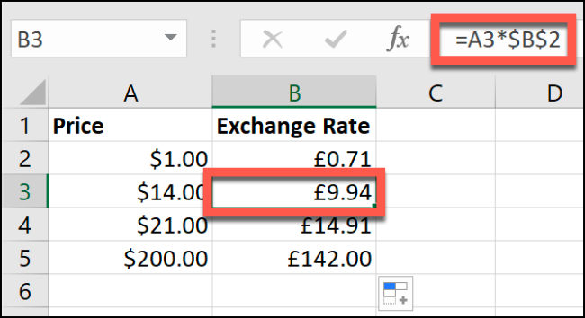 An example of manual currency conversion in an Excel spreadsheet.