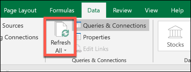 "Click ""Data,"" and then select ""Refresh All."""