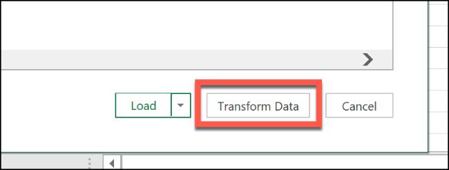 """Click """"Transform Data."""""""