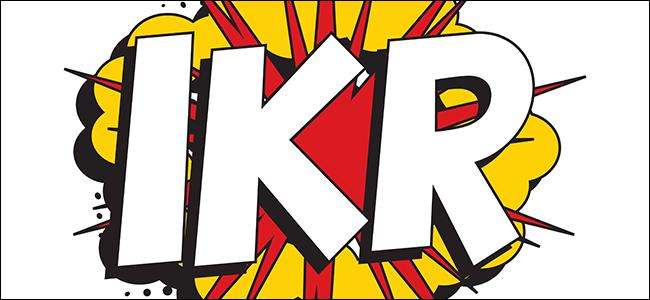 """""""IKR"""" en fuente blanca sobre un gráfico de explosión."""
