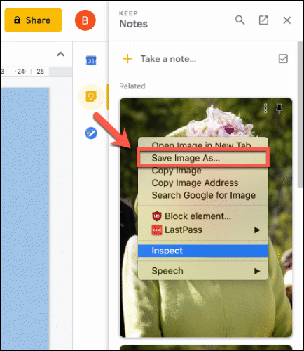 Right-click and click Save Image As to save an image file from your Keep notes