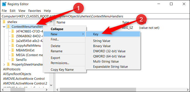 "Right-click ""ContextMenuHandlers,"" click ""New,"" and then click ""Key."""
