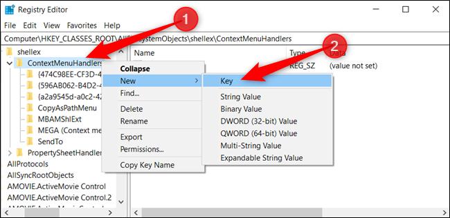 "Right-click ""ContextMenuHandlers,"" click ""New,"" and then click ""Key."""