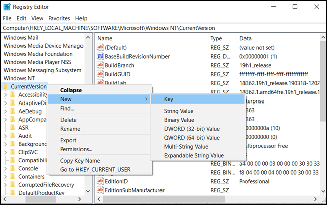 """Create a new Key by right-clicking on the """"Current Version"""" folder, and then clicking New > Key. Name it """"Winlogon."""""""