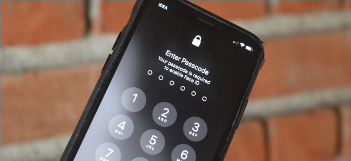 """The """"Enter Passcode"""" screen on an iPhone."""