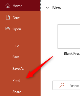Select Print in the pane on left