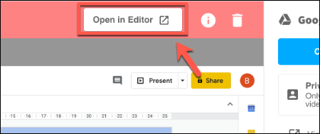 In the Screencastify view tab, press Open In Editor to begin making changes to it