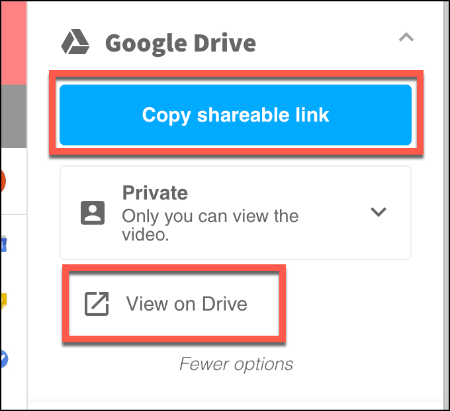 Press View on Drive to view your Screencastify recording on Google Drive, or Copy Shareable Link to copy a link to it