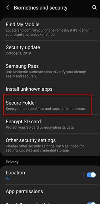 Sasmung Biometrics and Security Screen