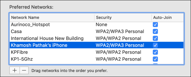 Select a Wi-Fi network from the list