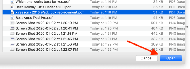 Select the second PDF and then click on Open