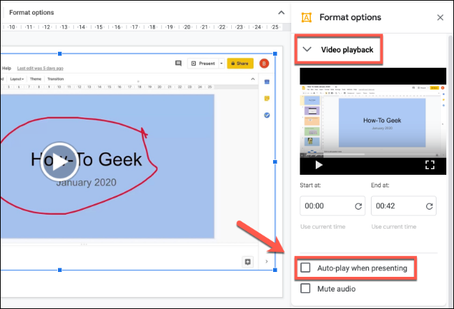 To autoplay your screen recording video, right-click, press Format Options, press Video Playback in the side menu, then click to enable the Auto Play when presenting checkbox