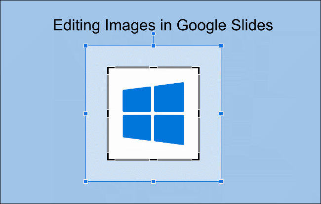 Use the mouse to select which areas of an image you want to crop in Google Slides