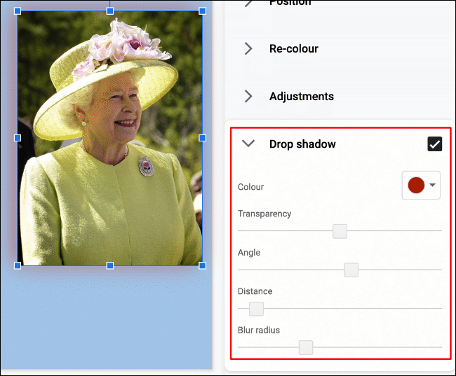 An image of Queen Elizabeth II in Google Slides, with a modified drop shadow applied