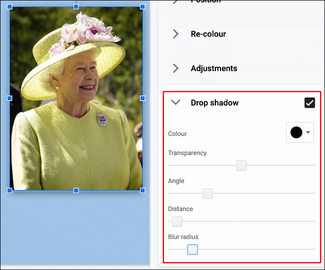 To apply a drop shadow to an image in Google Slides, click Format > Format Options > Drop Shadow