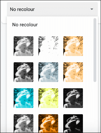 In the Format Options menu in Google Slides, click Re-Color, then select one of the image filters in the drop-down menu to re-color your image