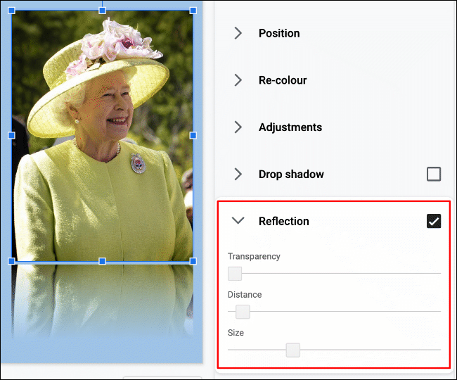 To add a reflection to an image in Google Slides, click Format > Format Options > Reflection