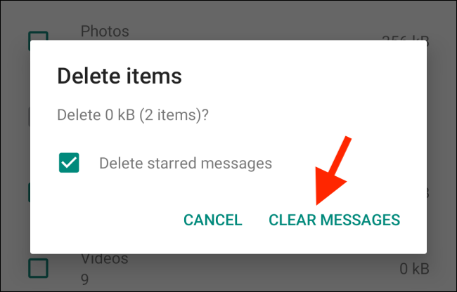 Tap on Clear Messages to confirm