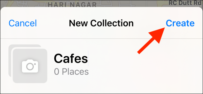 """Tap """"Create"""" after you name your Collection."""