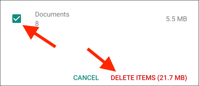 Tap on Delete Items after selecting media type