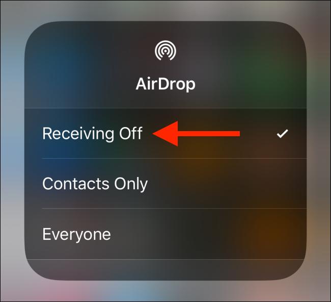 """Tap """"Receiving Off."""""""