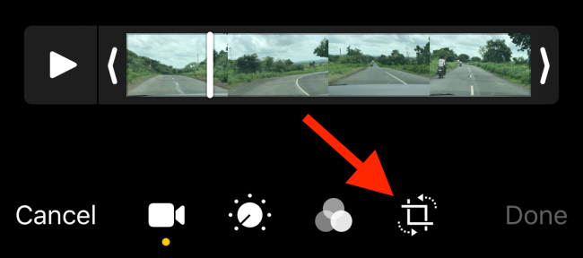 Tap on the Crop button from video editing screen
