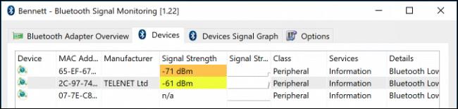 Intensidad de la señal para dispositivos Bluetooth cercanos en el monitor Bluetooth Bennett.