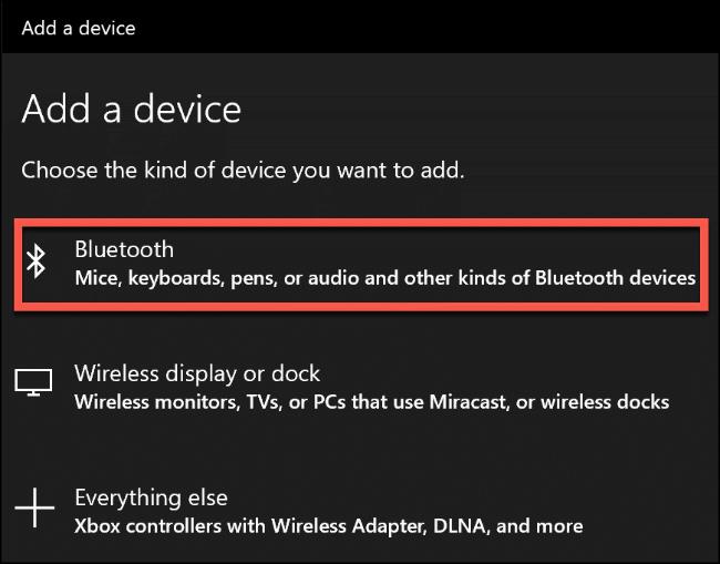 """Haga clic en """"Bluetooth""""."""