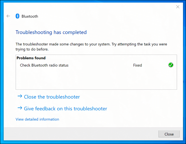 The Windows Troubleshooter tool, with identified Bluetooth issues detected and fixed.