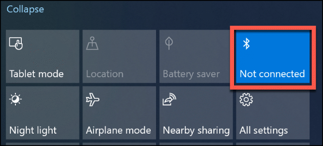 "Click the ""Bluetooth"" tile to turn it off and on again."
