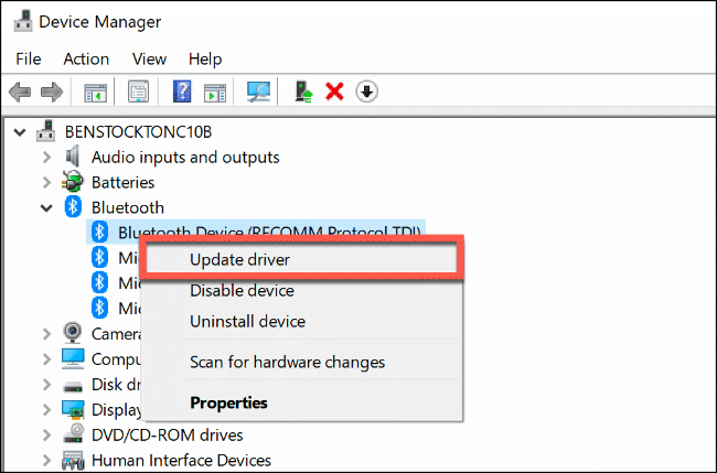 """Click """"Update Driver"""" in """"Device Manager."""""""