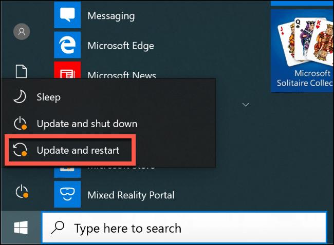 """La opción """"Actualizar y reiniciar"""" en el menú Inicio de Windows 10."""