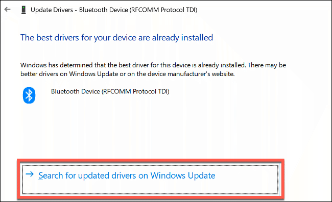 """Click """"Search for Updated Drivers on Windows Update."""""""