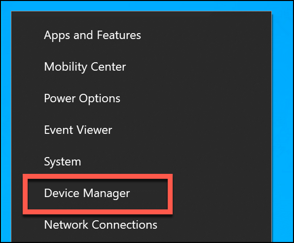 """Click """"Device Manager."""""""