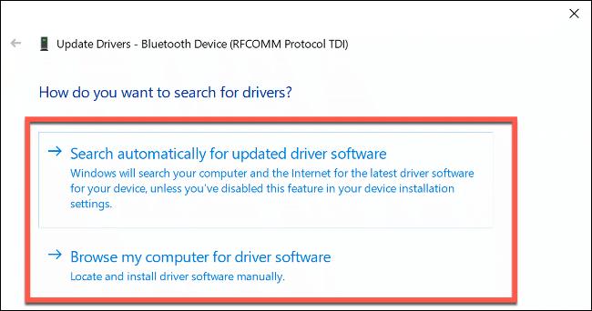 """La sección """"¿Cómo desea buscar controladores?""""  opciones en Windows 10."""