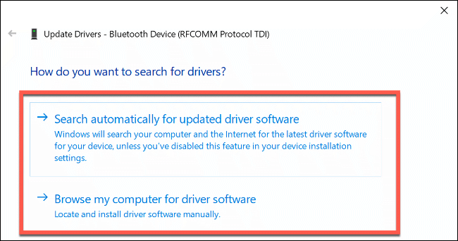 """The """"How Do You Want to Search for Drivers?"""" options in Windows 10."""