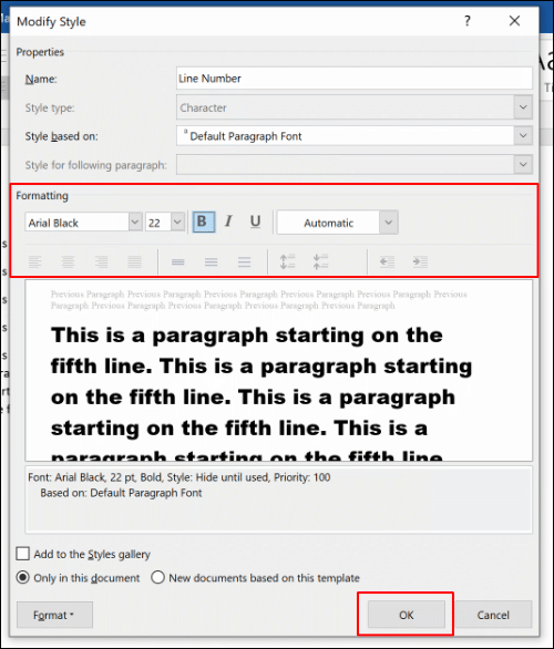 Edit the Line Number style formatting options, then click OK to save